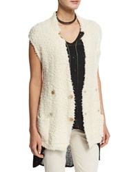 Brunello Cucinelli Sleeveless Double Breasted Belted Cardigan Butter Yellow