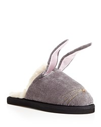 Kate Spade New York Bonnie Faux Fur Bunny Slippers Light Gray