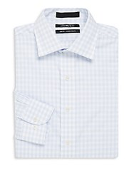 Saks Fifth Avenue Gingham Checks Cotton Shirt Light Blue