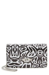 Moschino Women's 'Peace' Printed Leather Wallet On A Chain Black Black White