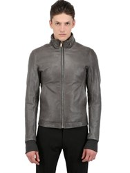 Rick Owens Hooded Rugged Leather Jacket