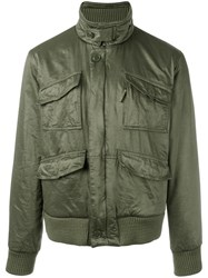 Aspesi Funnel Neck Bomber Jacket Green