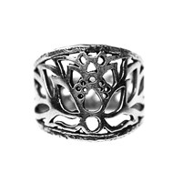 House Of Alaia Lotus Filigree Saddle Ring Oxidized Sterling Silver