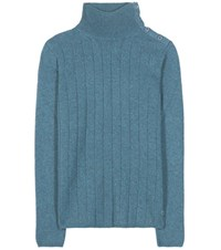 Loro Piana Dolcevita Boylston Knitted Cashmere Turtleneck Sweater Blue