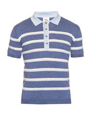Orley Striped Wool Knit Polo Shirt Blue