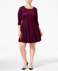 Ny Collection Plus Size Faux Suede Fit And Flare Dress Deep Purple