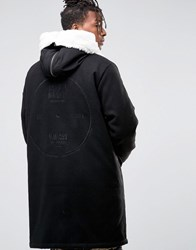 Asos Cut And Sew Wool Mix Parka With Back Embroidery In Black Black