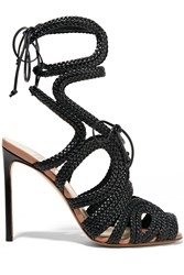 Francesco Russo Braided Patent Leather Sandals
