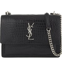Saint Laurent Monogram Sunset Medium Crocodile Embossed Leather Shoulder Bag Black