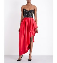 Moschino Pleated Faux Leather And Satin Dress J2114
