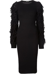 Alexandre Plokhov Shaggy Sleeve Knit Dress Black