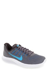 Nike Men's 'Lunarglide 8' Running Shoe Dark Grey Blue Glow Black