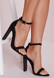 Missguided Pointed Toe Barely There Heeled Sandals Black Black