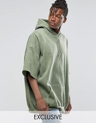 Reclaimed Vintage Super Oversized Hoodie With Overdye And Short Sleeves Khaki Olive Green