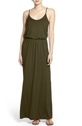 Lush Women's Knit Maxi Dress Solid Olive