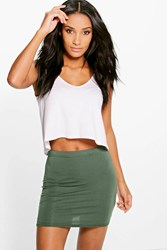 Boohoo Basic Bodycon Mini Skirt Khaki