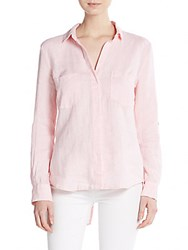 Saks Fifth Avenue Linen Hi Lo Shirt Rose