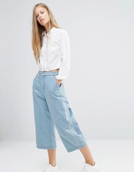 Ganni Wide Leg Denim Trousers Denim Blue