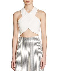 Alice Olivia Leyna Cropped Halter Top Off White