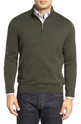 Nordstrom Men's Big And Tall Men's Shop Half Zip Cotton And Cashmere Pullover Green Deep Pine