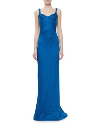 Zac Posen Embroidered Sweetheart Sleeveless Gown Blue