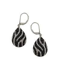 Lord And Taylor Black Sapphire And Diamond Sterling Silver Teardrop Earrings