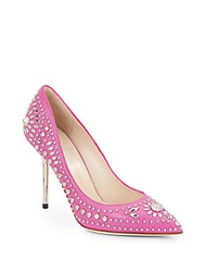Versace Studded Leather Pumps Pink Silver