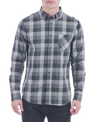 Sovereign Code Josiah Cotton Plaid Button Front Shirt Grey
