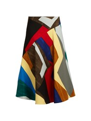 Marni Abstract Print Stretch Wool Twill Midi Skirt Multi