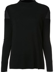 Lafayette 148 New York Sheer Detail Pullover Black