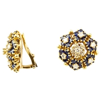 Turner And Leveridge 1980 18Ct Gold Sapphire Diamond Cluster Clip On Earrings Gold