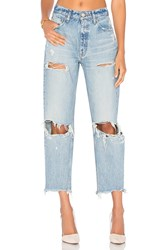 Moussy Distressed Straight Light Blue