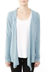Alternative Apparel Women's Alternative Hooded Jersey Cardigan Eco Blue Fog