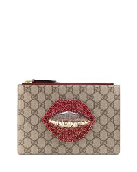 Gucci Merveilles Lips Small Pouch Bag Brown Brnpat