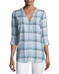Soft Joie Dane Long Sleeve Plaid Top Seaglass