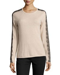 Neiman Marcus Cashmere Fringe Lace Trimmed Sweater Oatmeal