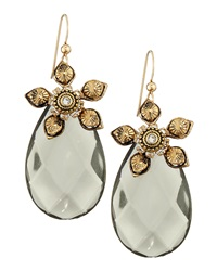 Marquis And Camus Floral Motif Crystal Dangle Earrings