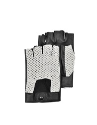 Forzieri Black Leather And Cotton Men's Driving Gloves