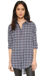 Sundry Tartan Plaid Button Down Shirt Blue