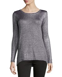 Joan Vass New York Metallic Knit High Low Tunic Pewter Silver
