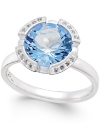 Thomas Sabo Blue Crystal Solitaire Ring In Sterling Silver