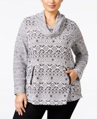 Styleandco. Style Co. Plus Size Cowl Neck Jacquard Top Only At Macy's Winter Aztec White