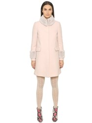 Blugirl Wool Cloth Coat With Rabbit Fur Details
