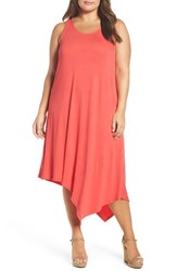 Sejour Plus Size Women's Asymmetrical Jersey Midi Dress Coral Chic