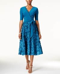 Alex Evenings Sequined Rosette Wrap Dress Teal