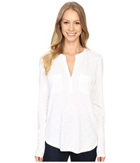 Lilla P Pima Modal Slub Long Sleeve Pocket Top White Women's Clothing