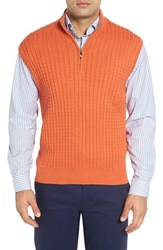 Robert Talbott Men's Cable Knit Quarter Zip Cotton Blend Sweater Vest Ember