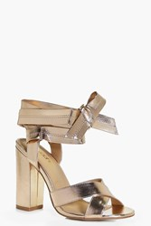 Boohoo Wide Fit Wrap Strap Heels Rose Gold