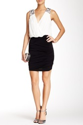 City Triangles Embellished Surplice Homecoming Dress Black