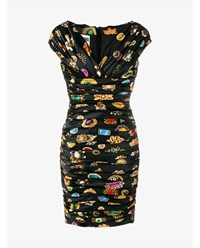 Moschino Jewel Print Ruched Off Shoulder Dress Black Multi Coloured